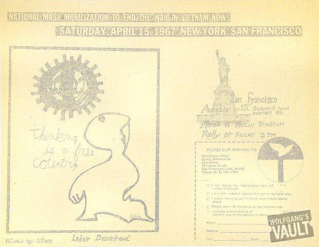 "The Sopwith Camel Handbill from Longshoreman's Hall on 09 Apr 67: 8 1/2"" x 11"""
