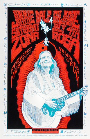 "Jimmie Dale Gilmore Poster from La Zona Rosa on 04 Jul 92: 11"" x 17"""