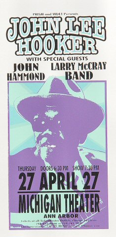 "John Lee Hooker Handbill from Michigan Theatre on 27 Apr 00: 4 1/4"" x 8 5/8"""