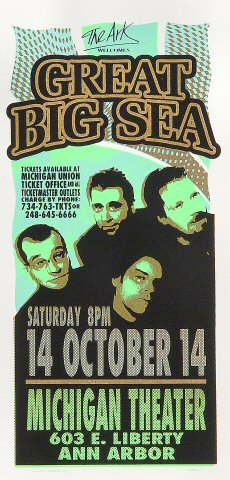"Great Big Sea Handbill from Michigan Theatre on 14 Oct 00: 4 1/4"" x 8 5/8"""