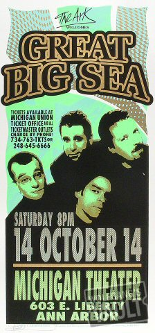 "Great Big Sea Poster from Michigan Theatre on 14 Oct 00: 10 1/2"" x 22 1/4"""