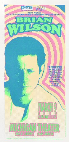 "Brian Wilson Handbill from Michigan Theatre on 09 Mar 99: 4 1/4"" x 8 5/8"""