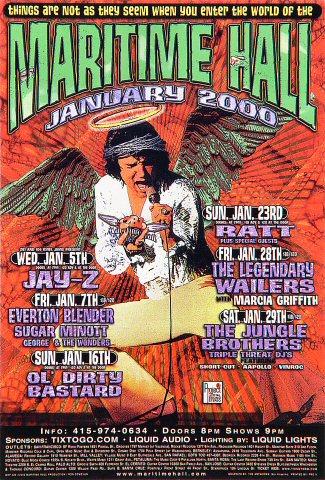 "Jay-Z Handbill from Maritime Hall on 05 Jan 00: 4"" x 6"""