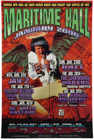 """Jay-Z Poster from Maritime Hall on 05 Jan 00: 12"""" x 18"""""""