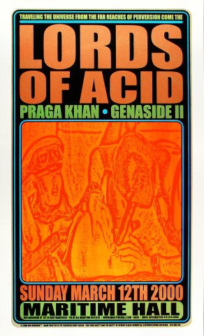 """Lords of Acid Poster from Maritime Hall on 12 Mar 00: 15 1/4"""" x 25 1/8"""""""