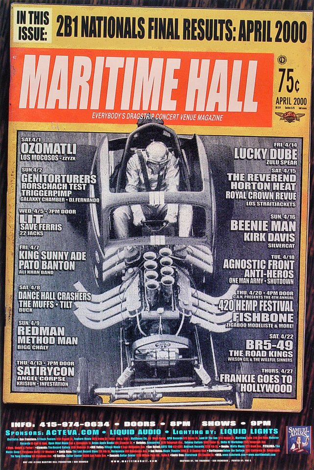 "Ozomatli Poster from Maritime Hall on 01 Apr 00: 12"" x 18"""