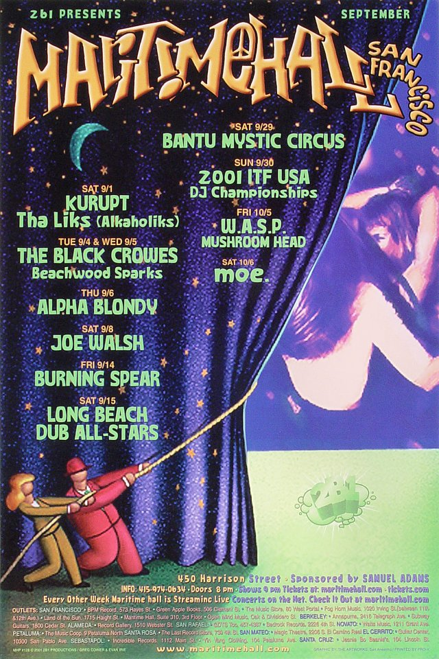 "Kurupt Poster from Maritime Hall on 01 Sep 01: 12"" x 18"""