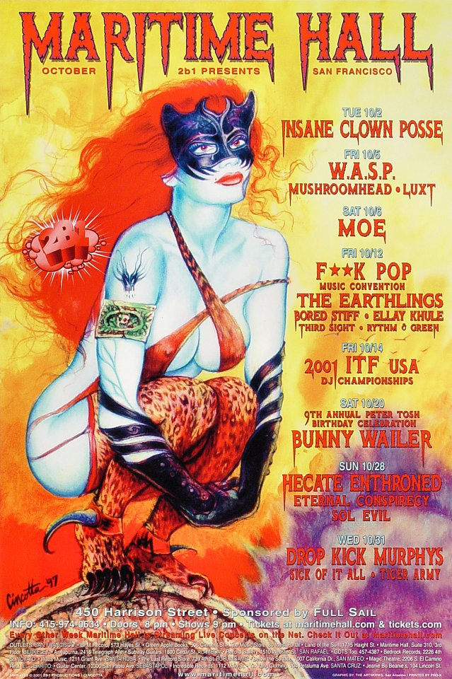 "Insane Clown Posse Poster from Maritime Hall on 02 Oct 01: 12"" x 18"""