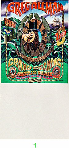Gregg Allman 1990s Ticket from Maritime Hall on 27 Oct 95: Ticket One