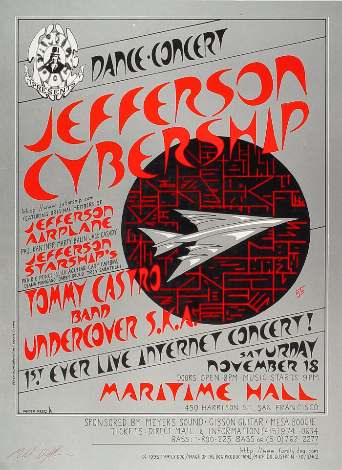 "Jefferson Starship Poster from Maritime Hall on 18 Nov 95: 14"" x 19"""