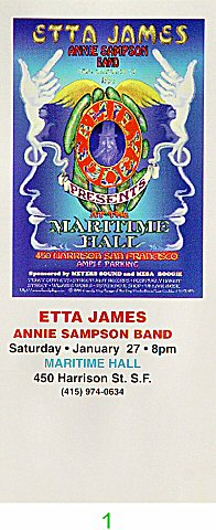 Etta James 1990s Ticket from Maritime Hall on 27 Jan 96: Ticket One