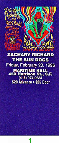 Zachary Richard 1990s Ticket from Maritime Hall on 23 Feb 96: Ticket One