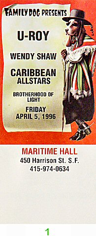 U-Roy 1990s Ticket from Maritime Hall on 05 Apr 96: Ticket One