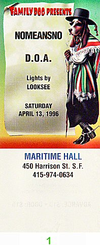 Nomeansno 1990s Ticket from Maritime Hall on 13 Apr 96: Ticket One