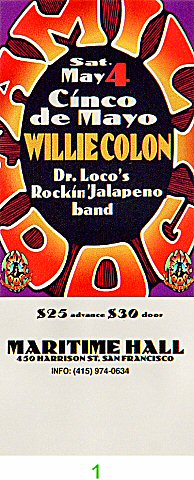 Willie Colon 1990s Ticket from Maritime Hall on 04 May 96: Ticket One