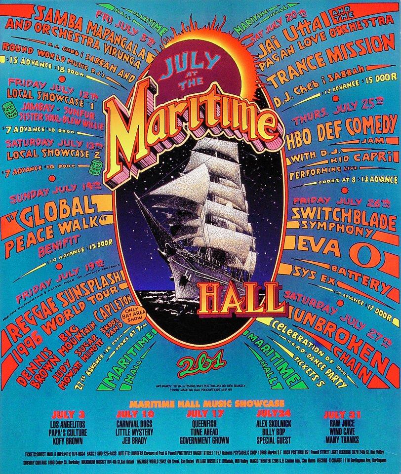 """Samba Mapangala Poster from Maritime Hall on 05 Jul 96: 15 7/8"""" x 18 3/4"""""""