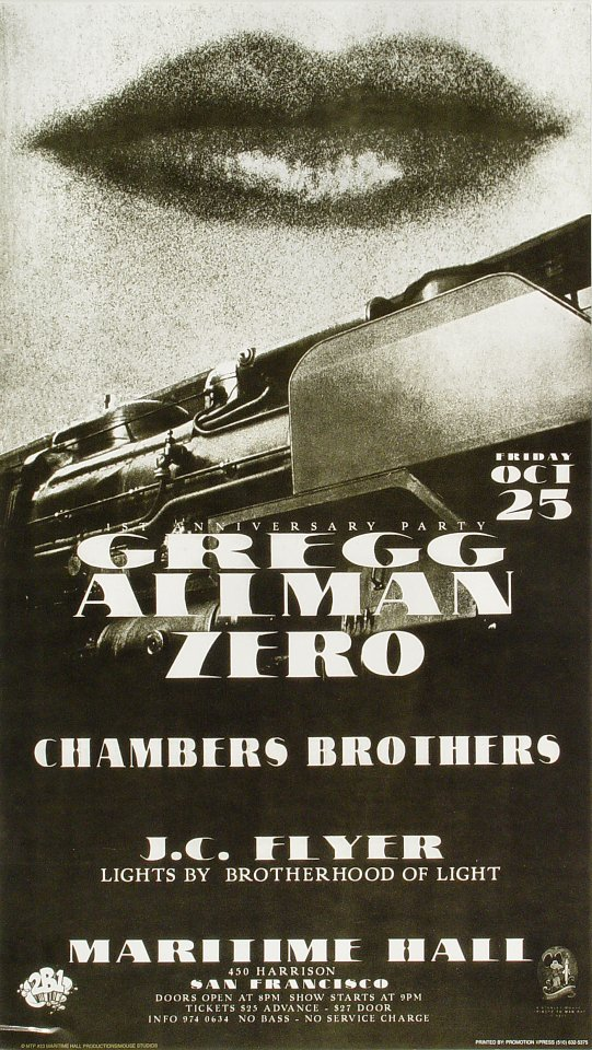 "Gregg Allman Poster from Maritime Hall on 25 Oct 96: 12 1/2"" x 22"""