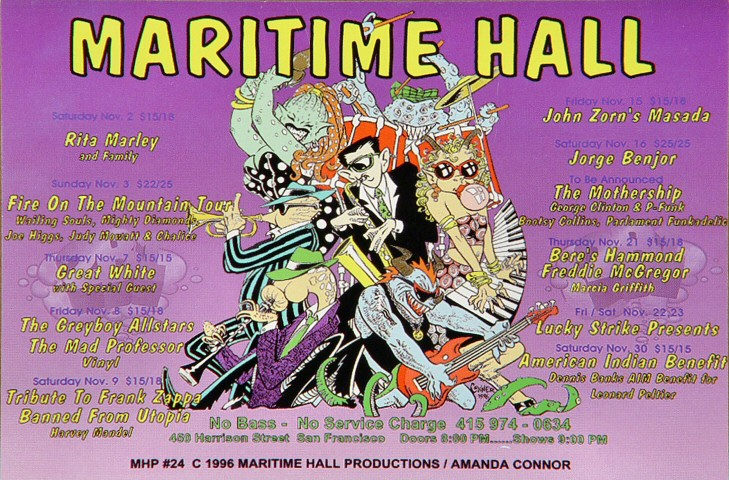 "Rita Marley Handbill from Maritime Hall on 02 Nov 96: 4"" x 6"""