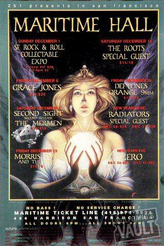 "Grace Jones Handbill from Maritime Hall on 01 Dec 96: 4"" x 6"""