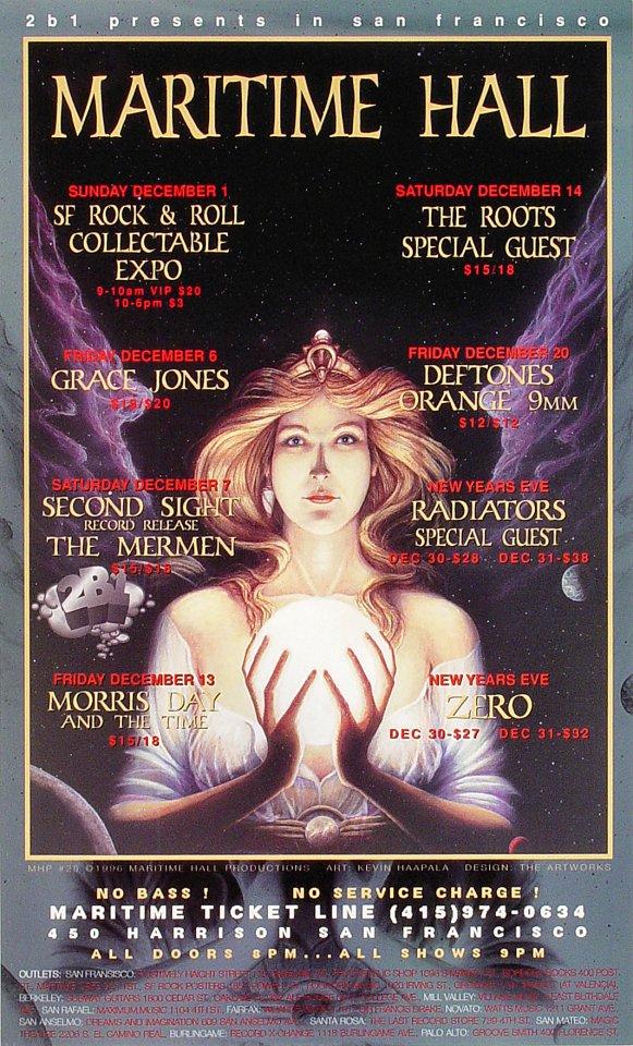 "Grace Jones Poster from Maritime Hall on 01 Dec 96: 9 3/4"" x 16"""