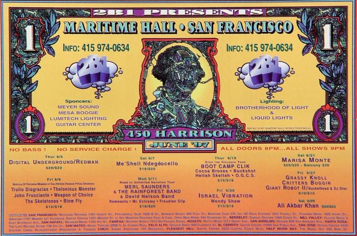 "Digital Underground Handbill from Maritime Hall on 05 Jun 97: 4"" x 6"""