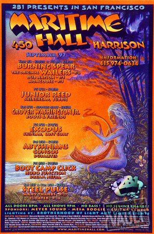 "Burning Spear Handbill from Maritime Hall on 04 Sep 97: 4"" x 6"""