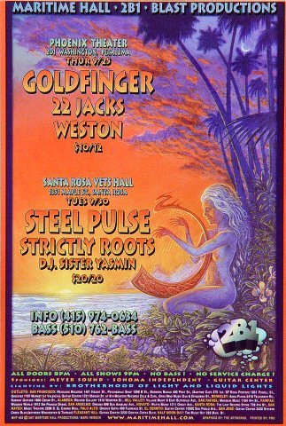 "Goldfinger Handbill from Maritime Hall on 25 Sep 97: 4"" x 6"""