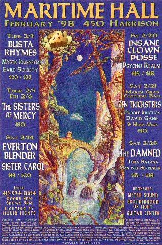"Busta Rhymes Handbill from Maritime Hall on 03 Feb 98: 4"" x 6"""