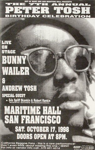 "Bunny Wailer Poster from Maritime Hall on 17 Oct 98: 10 1/2"" x 16 3/8"""