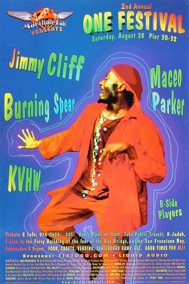 "Jimmy Cliff Poster from Maritime Hall on 28 Aug 99: 12"" x 18"""