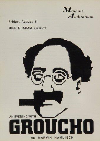"""Groucho Marx Program from Masonic Auditorium on 11 Aug 72: 8"""" x 11"""""""