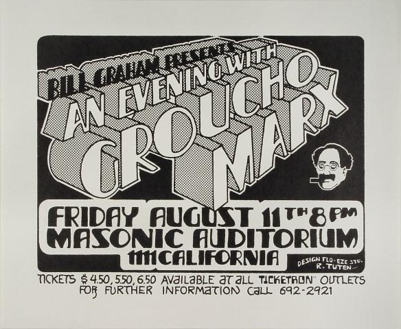 "Groucho Marx Poster from Masonic Auditorium on 11 Aug 72: 14"" x 17"""