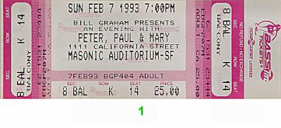 Peter, Paul & Mary 1990s Ticket from Masonic Auditorium on 07 Feb 93: Ticket One