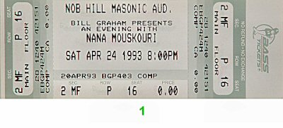 Nana Mouskouri 1990s Ticket from Masonic Auditorium on 24 Apr 93: Ticket One
