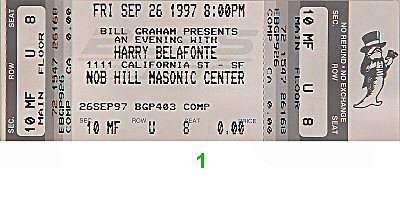 Harry Belafonte 1990s Ticket from Masonic Auditorium on 26 Sep 97: Ticket One