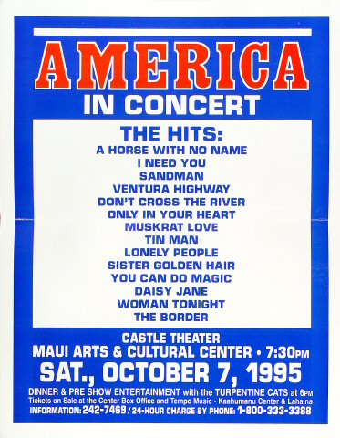 "America Poster from Maui Arts & Cultural Center Amphitheatre on 07 Oct 95: 12 1/2"" x 16"""