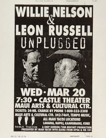 "Willie Nelson Handbill from Maui Arts & Cultural Center Amphitheatre on 20 Mar 96: 8 1/2"" x 11"""