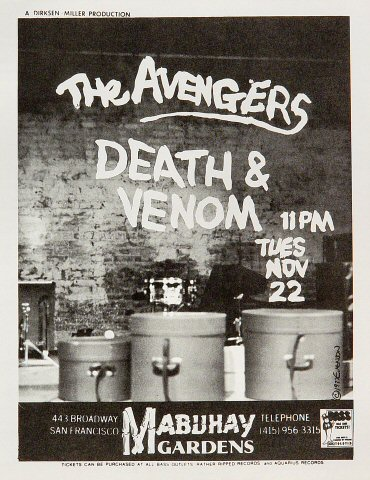 "The Avengers Handbill from Mabuhay Gardens on 22 Nov 77: 8 1/2"" x 11"""