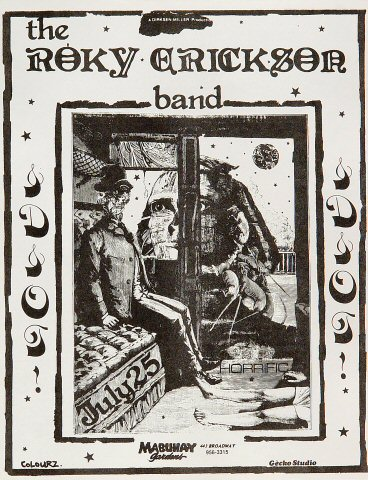 "The Roky Erickson Band Handbill from Mabuhay Gardens on 25 Jul 82: 8 1/2"" x 11"""