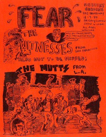 """Fear Handbill from Mabuhay Gardens on 09 Nov 84: 8 1/2"""" x 11"""""""