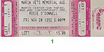 Rosie O'Donnell 1990s Ticket from Marin Civic Auditorium on 20 Nov 92: Ticket One