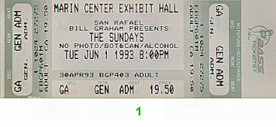 The Sundays 1990s Ticket from Marin Center Exhibit Hall on 01 Jun 93: Ticket One