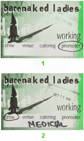 Barenaked Ladies Backstage Pass from McNichols Arena on 19 Oct 98: Pass 1