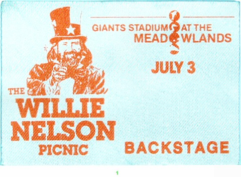 Willie Nelson Backstage Pass from Meadowlands Arena on 03 Jul 83: Pass 1