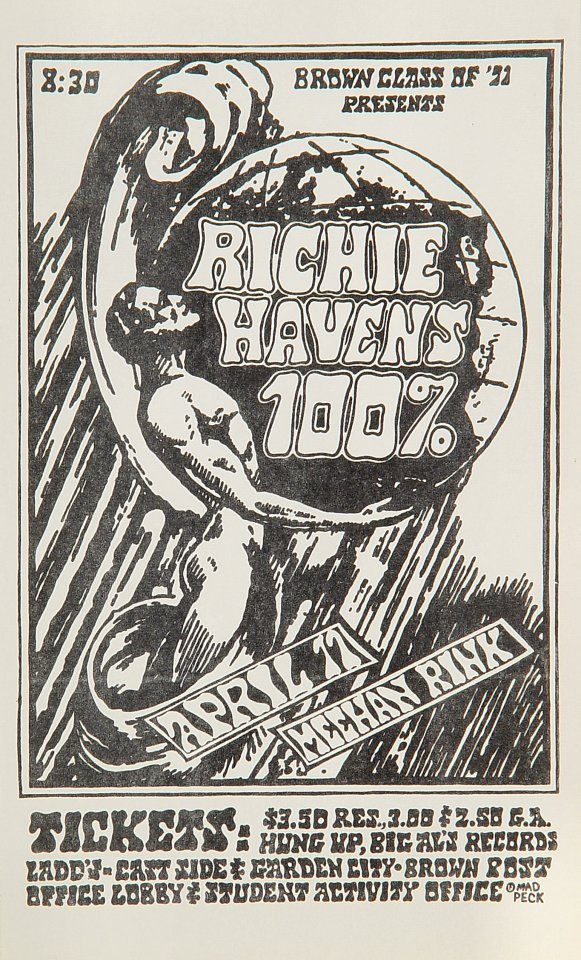 "Richie Havens Handbill from Meehan Rink on 17 Apr 70: 5 1/4"" x 8 3/4"""