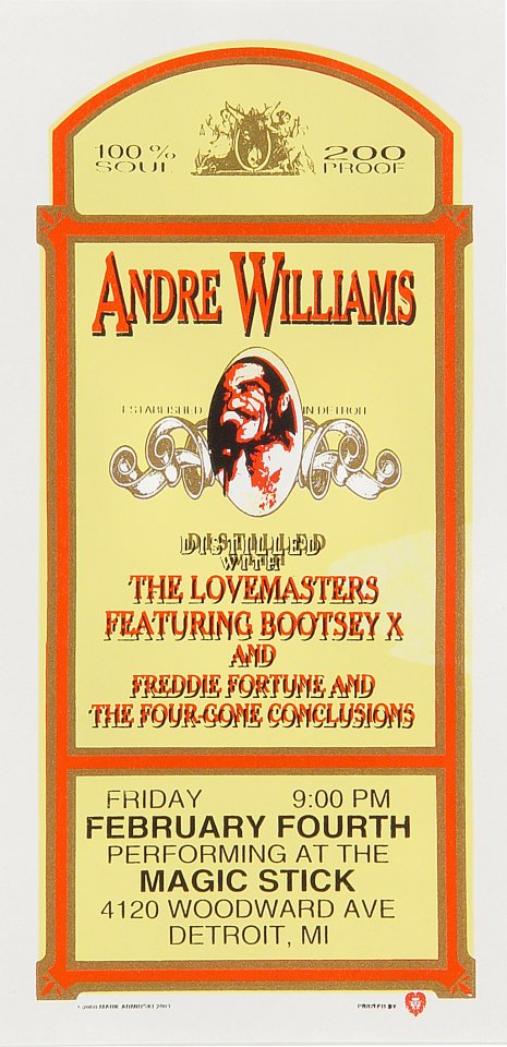 "Andre Williams Handbill from Magic Stick on 04 Feb 00: 4 1/4"" x 8 1/2"""
