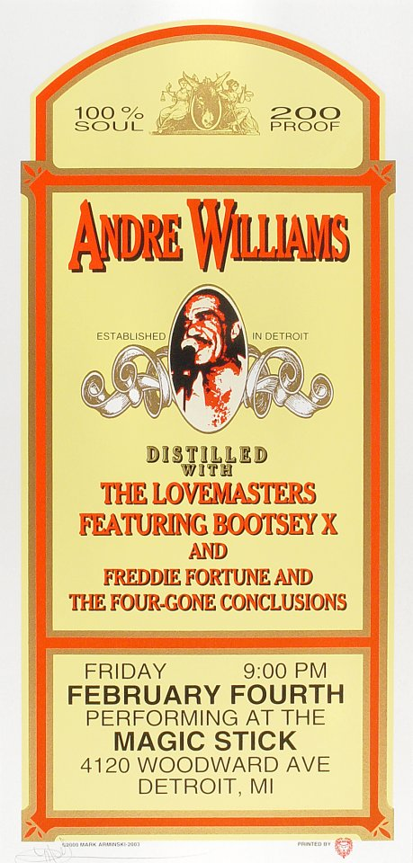 "Andre Williams Poster from Magic Stick on 04 Feb 00: 10 1/2"" x 22 1/4"""