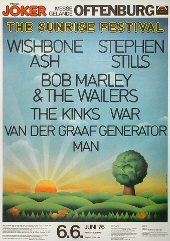 """Bob Marley and the Wailers Poster from Messegelande on 06 Jun 76: 23 1/4"""" x 32 1/2"""""""