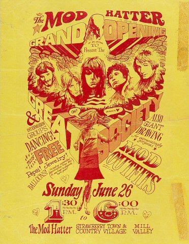"""Great Society Handbill from Mod Hatter Store on 26 Jun 66: 8 3/8"""" x 10 7/8"""""""