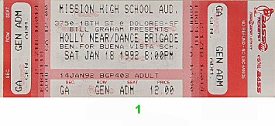 Holly Near 1990s Ticket from Mission High School on 18 Jan 92: Ticket One